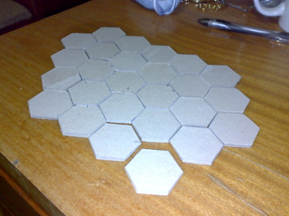 Cardboard hex tiles for the WBG