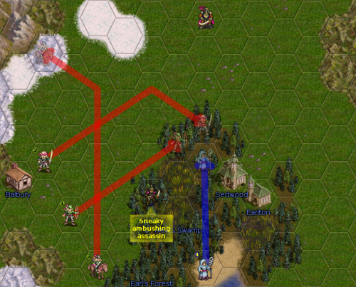Red lines are planned moves for the current player, the blue line is a move planned by his ally. What, assassins don't have ambush? Well, this one does :P.