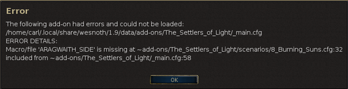 error message when loading the map
