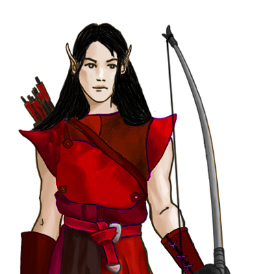 New coloured Elven Bowmaid with red armor black hairs