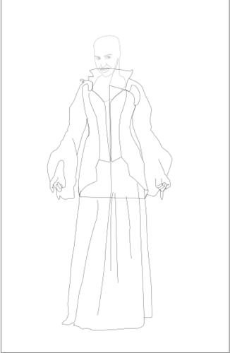 Initial lineart for wesnoth portrait - female