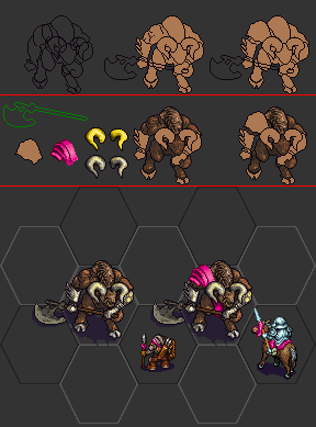 Sample of the first two days work. I wish to make two different minotaurs, one more cave like and the other with some armours (see the pauldron for example) and a stronger (different) axe (just like happens for the same unit but with different levels, respectively Lv.4 and Lv.5). Again, this is a very early work in progress, I know my taste and what I wish to achieve but I am not sure of my actual skills, but yesterday I would have never told that I could have made this.<br />Note: the dwarf and the cavalryman are mainline units I used to compare the size. I recall they are made by Sleepwalker (love his pixel style)