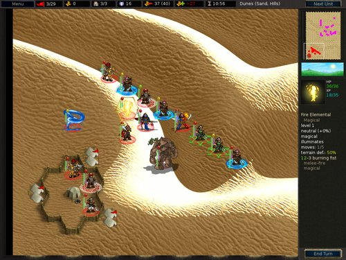 My lineup on turn 3. Note my gold is gone, but I need all recalls just to get through the first enemy line.