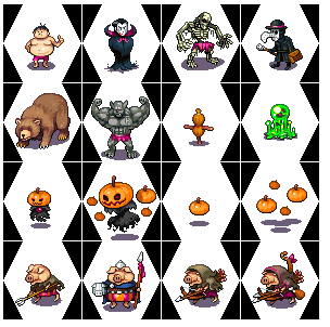 1. chubby guy<br />2. vampire lord<br />3. troll skeleton<br />4. plague doctor<br />5. grizzly<br />6. troll brawler<br />7. practice dummy<br />8. glob<br />9-12. pumpkin spirits + posessed pumpkins.<br />13-16. porcs