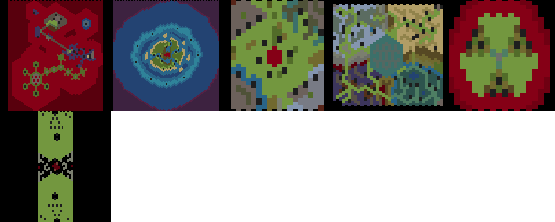 preview of the maps listed, shown with colors of terrain class, composited in 2 rows and 5 columns