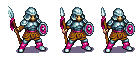 Slight changes to each sprite. The 2nd and 3rd sprites the helm is smaller so the 3rd sprite is 1 pixel smaller.